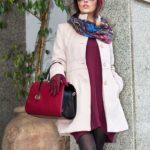 Cappotto rosa e vestito lana con tasche colore bordeaux
