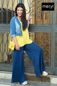 Pantalone palazzo con giacchino jeans e maglia smanicata